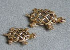 Pair of Gold Turtle Pins, possibly Pauline Trigère