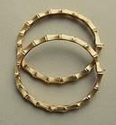 Pair of Vintage Gold Bamboo Bracelets, circa 1965