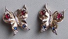 Pair of Vintage Trifari Silver Butterfly Earrings, 1938