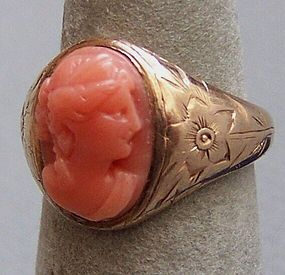 Antique Pinky or Child's Gold and Coral Cameo Ring