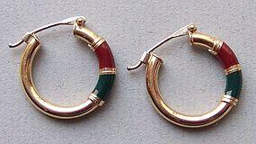 Pair of Gold and Enamel Hoop Earrings