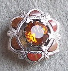 Victorian Scottish Agate Pebble Stone Brooch w. Citrine