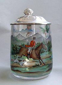 Art Nouveau Czech Painted Glass Stein, Hunting Scene
