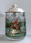 Art Nouveau Czech Painted Glass Stein, Hunting Scene