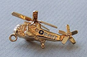 Gold Helicopter Charm, US Navy
