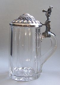 Cut Glass and Silver Plated Beer Stein, circa 1900