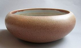Marblehead Pottery Low Bowl, pebbled glaze