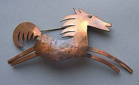 Vintage Primitive Copper Horse Pin by Rebajes