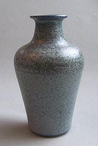 Danish Hjorth Speckled Blue Stoneware Vase