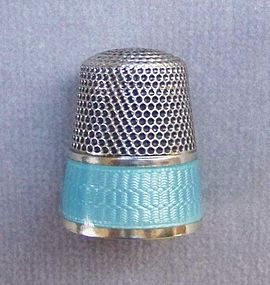 Sterling Silver and Guilloch� Enamel Thimble