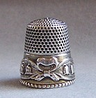Sterns Bros Sterling Silver Thimble, Lily of the Valley