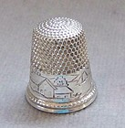 Sterling Silver Thimble with House, Lake and Boat