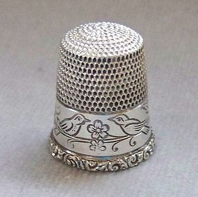 Sterling Silver Thimble with Birds, Simon Brothers