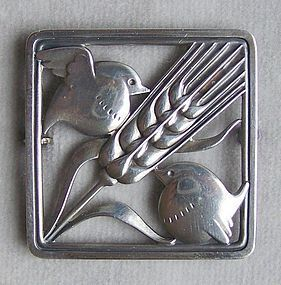 Sterling Silver Georg Jensen Bird and Wheat Pin/Brooch