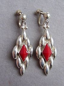 Pair of Mexican Sterling Silver Pendant Earrings