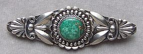 Vintage Navajo Silver and Turquoise Pin Brooch