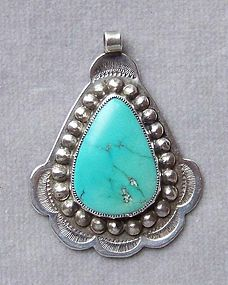Vintage Navajo Silver and Turquoise Pendant