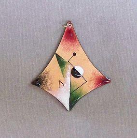 Modernist Enamel on Copper Pendant by H. Tishler