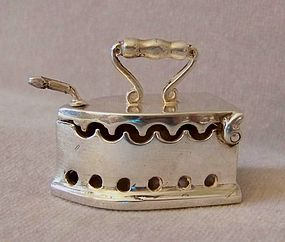 Solid Silver Dollhouse Miniature Charcoal Iron
