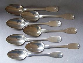 7 Early Coin Silver Tablespoons, Cleveland & Post