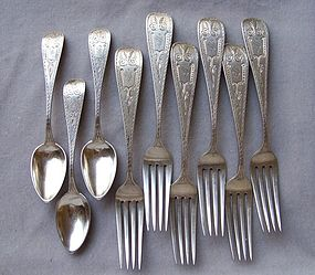 Victorian Coin Silver Forks and Spoons, Philadelphia