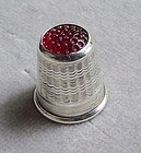 Sterling Silver Thimble with Glass Top