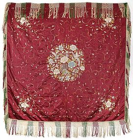 Old Chinese Embroidered Silk Cover, c. 1940.
