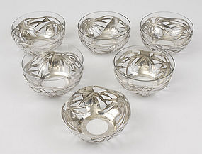 Six Chinese Export Silver Dessert Bowls, Early 20th C.