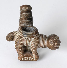 Antique African Ashanti Figural Tobacco Clay Pipe Bowl.