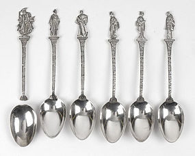 Six Japanese Silver Spoons with Figural Handles, Meiji.