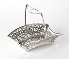 Early 20th C. Chinese Export Silver Basket w. Openwork.
