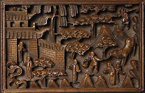 Two Chinese Export Carved Wood Boxes w. Figurines.