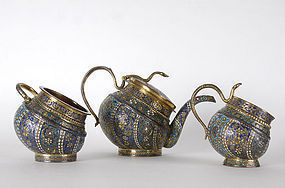 Kashmir Gilt Bronze Tea Service with Enamel, 19th C.