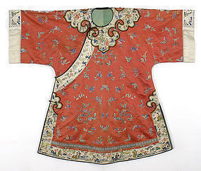 Embroidered Han Chinese Informal Silk Coat, 19th C.