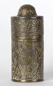 Persian Qajar Brass Container w. Figural Medallions.