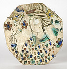 Rare Persian Safavid Tile w. Young Nobleman, 17th C.