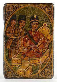Single Qajar Papier-Mache Nas Card w. Nobleman, # 4