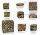 Collection of 9 Akan Brass Gold Weights, 18th / 19th C.