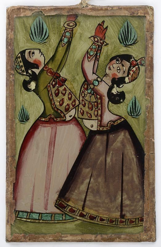 Persian Reverse Glass Painting with Dancers, c. 1900.