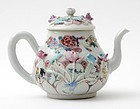 "Chinese Molded Export Porcelain ""Famille rose"" Teapot."