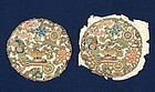 Pair of Chinese Embroidered Peking Knot Silk Roundels.