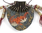 Antique Chinese Silk Purse with Counted Stitch Embroidery w. Bats.