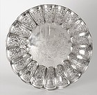 Chinese Export Silver Salver Tray with Opera Scene, Marked.