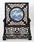 Chinese Table Screen with Blue & White Porcelain Plaque, late Qing.