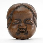Japanese Wood Mask Netsuke of Okame # 3, 19th C.