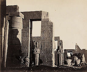 Early Vintage Photograph of the Ramesseum, c. 1865.