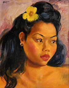 Oil Painting of Javanese Beauty by Henry Dumien, 1946.