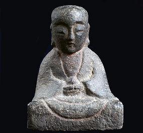 Stone Jizo Bosatsu Bodhisattva Momoyama/Edo ca. 1600