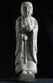 Granite Jizo Bosatsu Bodhisattva Buddha Edo 17/18 c.