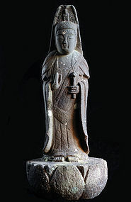 Stone Sho-Kannon Bosatsu Japanese Sculpture Edo 18/19 c